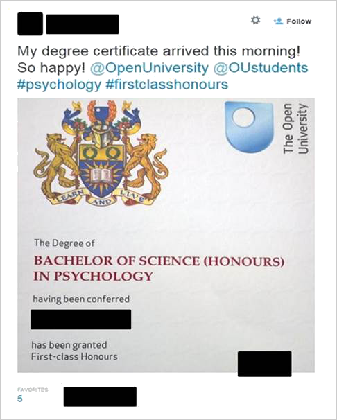 Image result for the Open University BA Education degree certificate